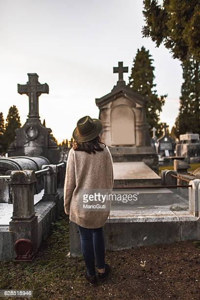 Young woman at cemetery