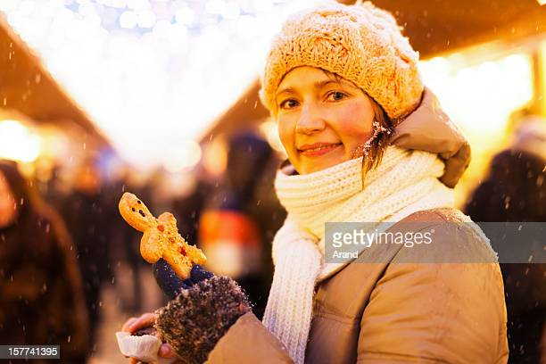 young woman at christmas market