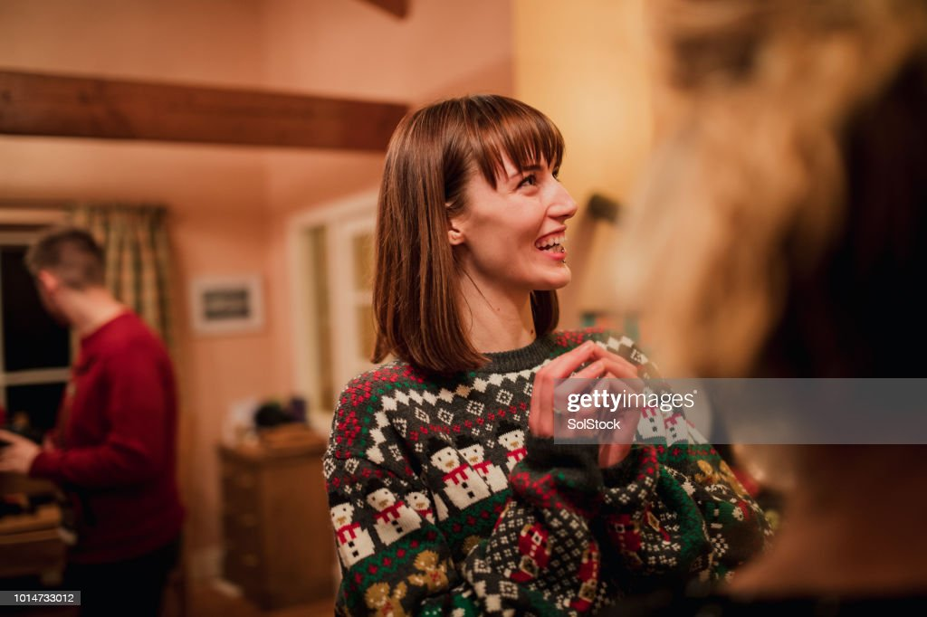 Young Woman at Christmas Party : Stock Photo