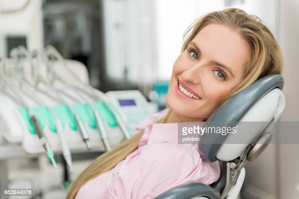 Young woman at dental test