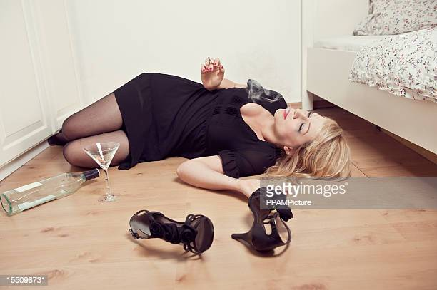 young woman at home - binge drinking stock photos and pictures