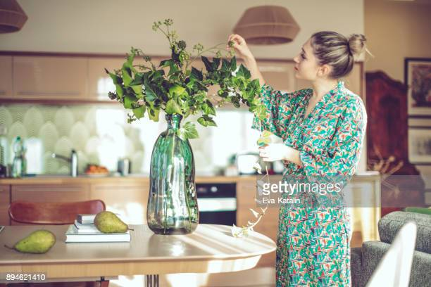 young woman at home - springtime stock pictures, royalty-free photos & images