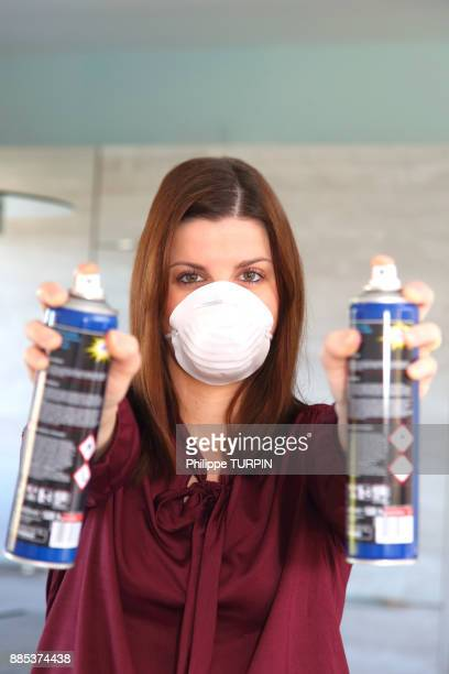 young woman at home using air spray - face mask beauty product stock pictures, royalty-free photos & images