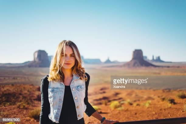 Young woman at Monument Valley