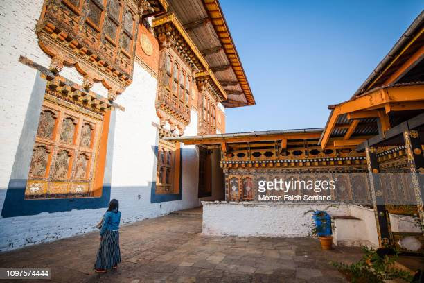 a young woman at punakha dzong in punakha, bhutan on a sunny spring afternoon - プナカ ストックフォトと画像
