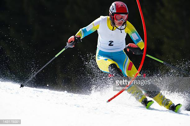 Young woman at slalom ski race