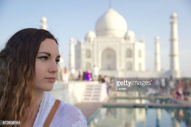 Young Woman at Taj Mahal - India.
