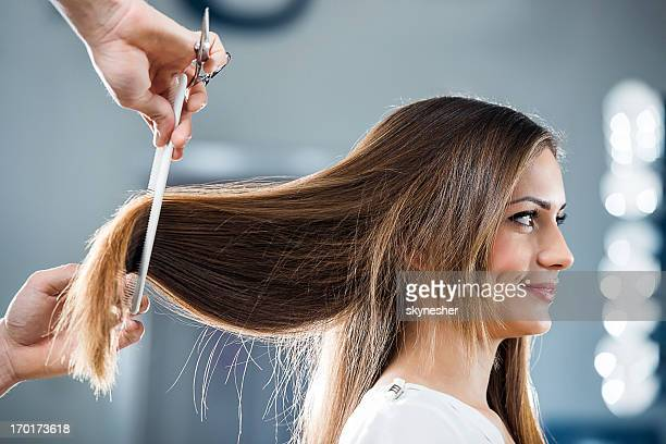 Young woman at the hairdresser's.