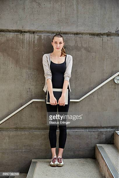 young woman at university - black trousers stock pictures, royalty-free photos & images