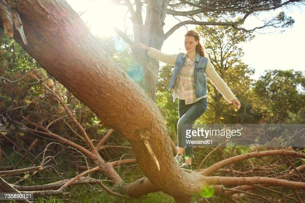 Young woman balancing on tree trunk