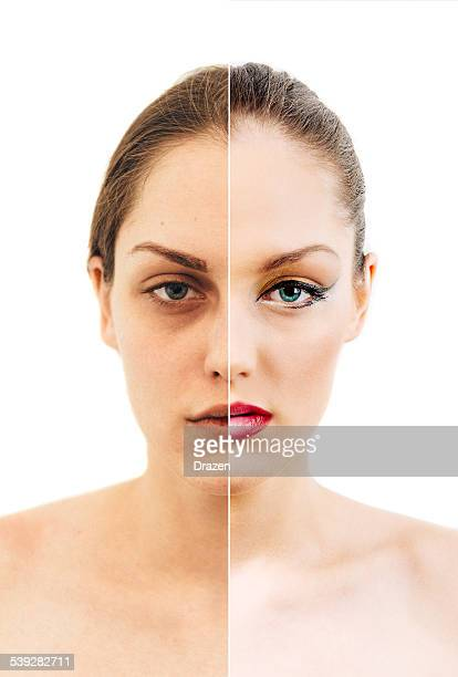 Young woman before and after beauty and make up treatment