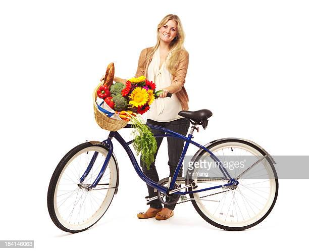 Young Woman Bicycle Grocery Shopping for Green Environment, White Background