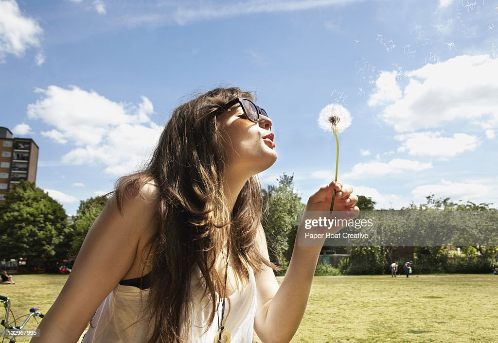 Young woman blowing away the dandelion seeds : ストックフォト