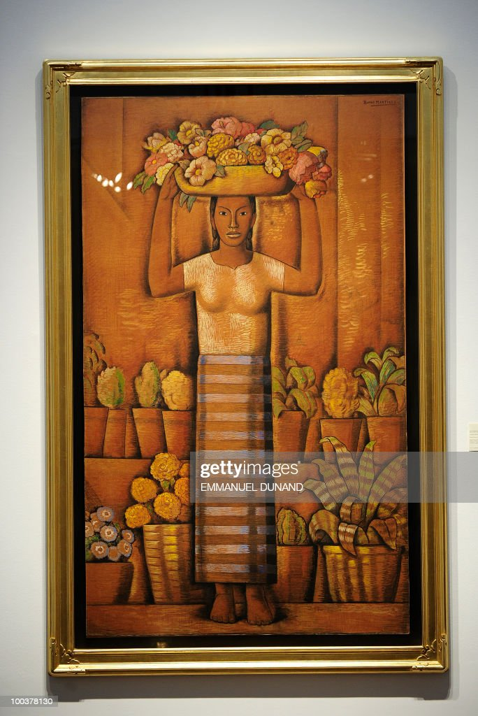 'Young Woman Carrying Flowers' by Alfredo Ramos Martinez is on display during a preview of Christie's Latin American Art auctions, May 24, 2010 in New York. Christie's will hold its Latin American Art auctions on May 26 and 27, 2010. AFP PHOTO/Emmanuel Dunand