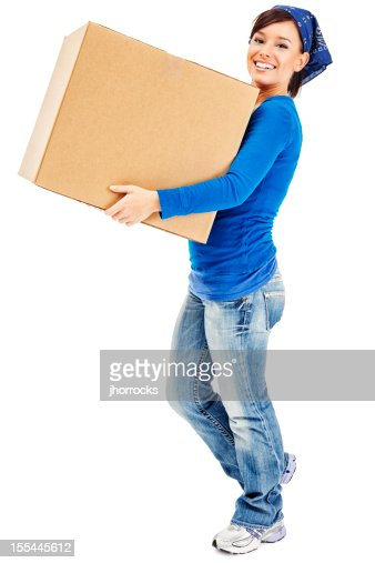 young woman carrying large cardboard moving box stock photo getty images. Black Bedroom Furniture Sets. Home Design Ideas