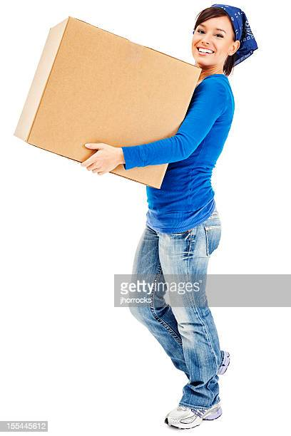 Young Woman Carrying Large Cardboard Moving Box