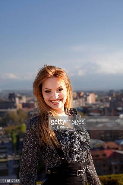 Young woman, Cascade, Yerevan, Armenia