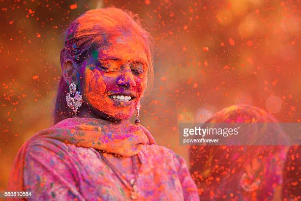 Young Woman Celebrating Holi Festival