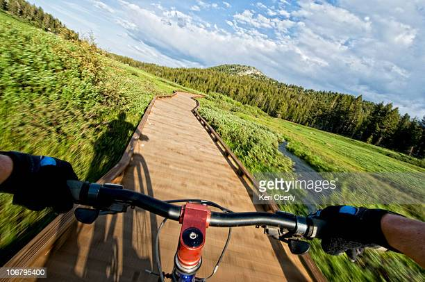 A young woman chases her shadow, while out for an evening mountain bike ride in Lake Tahoe, Nevada.