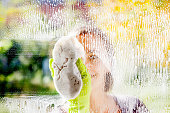 Young Woman Cleaning Windows
