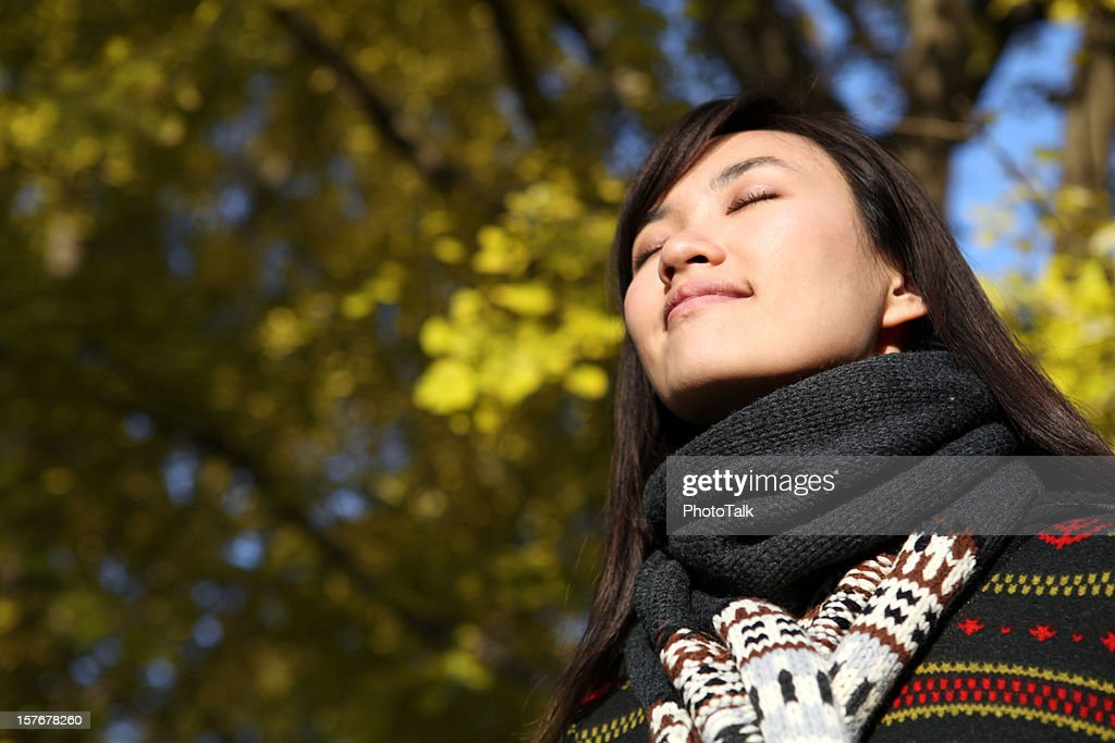 Young Woman Close Eyes and Deep Breathing - XXXLarge : Stock Photo
