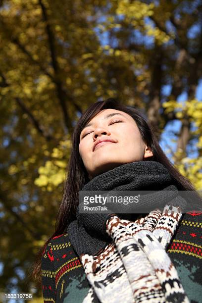 Young Woman Close Eyes and Deep Breathing - XXXLarge