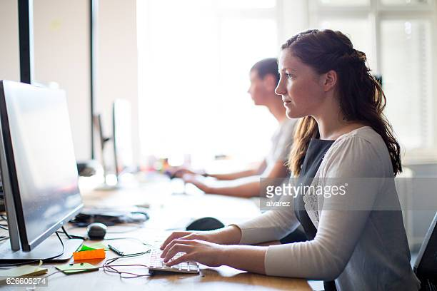 Young woman computer programmer