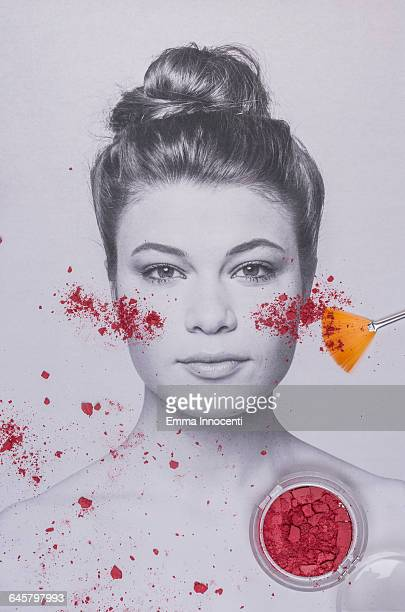 Young woman covered by blusher