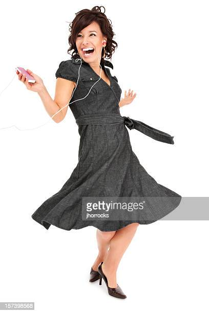 Young Woman Dancing Happily