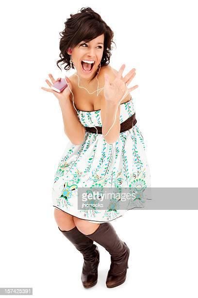 young woman dancing happily - funky stock pictures, royalty-free photos & images