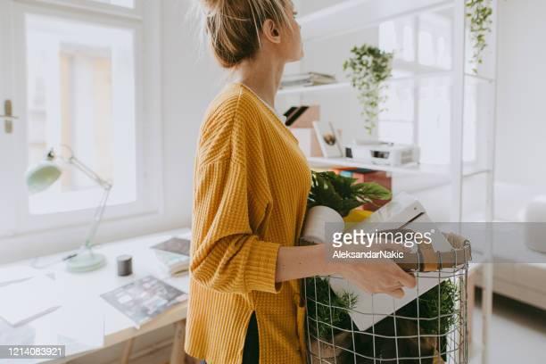 jonge vrouw die haar huis verfraait - decoration stockfoto's en -beelden