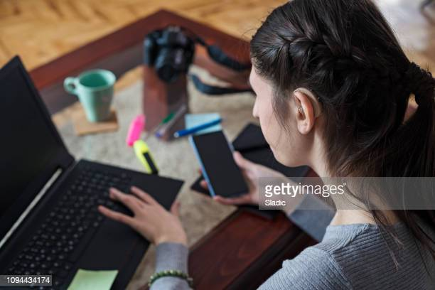 young woman designer working at home - assistive technology stock photos and pictures