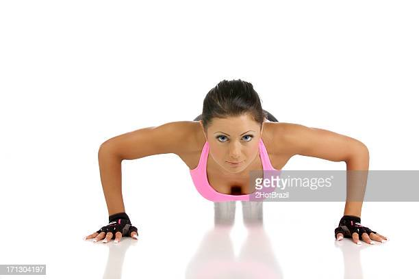 Young Woman Doing Push-up Exercise