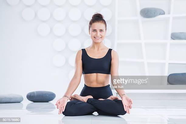 Young Woman Doing Yoga Meditation Exercise