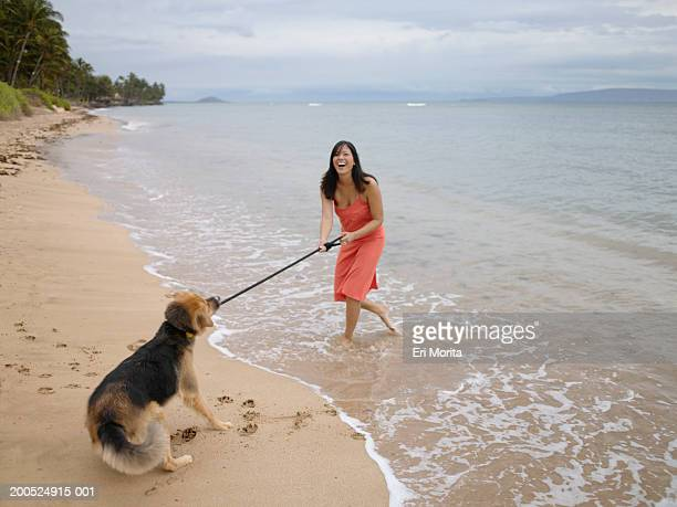 Young woman dragging dog into sea