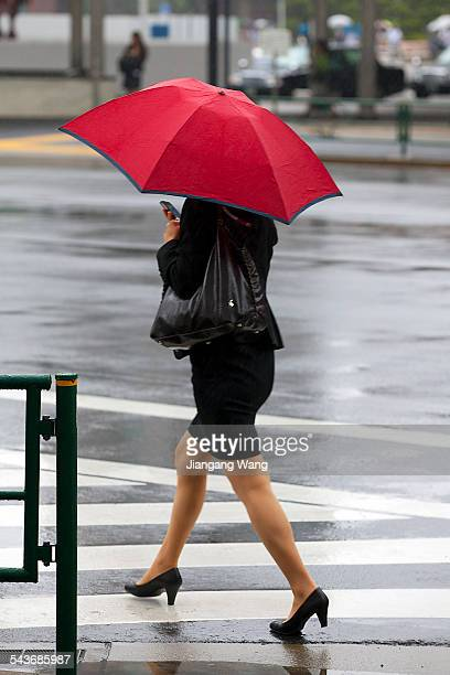 A young woman dressed in black and in 'OL ' style is texting on a mobile phone in the rain while walking down the street holding a red umbrella