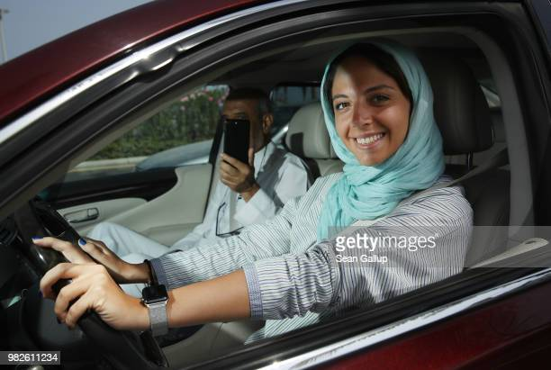 Saudi lawyer and businesswoman Sofana Dahlan and her associate Sheezah Shehzad order coffee in a cafe after driving there by car on the first day...