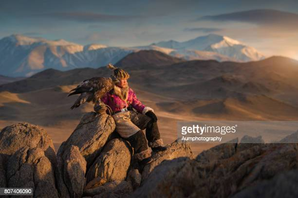 Young woman eagle hunter from the Altai moutains, Mongolia.