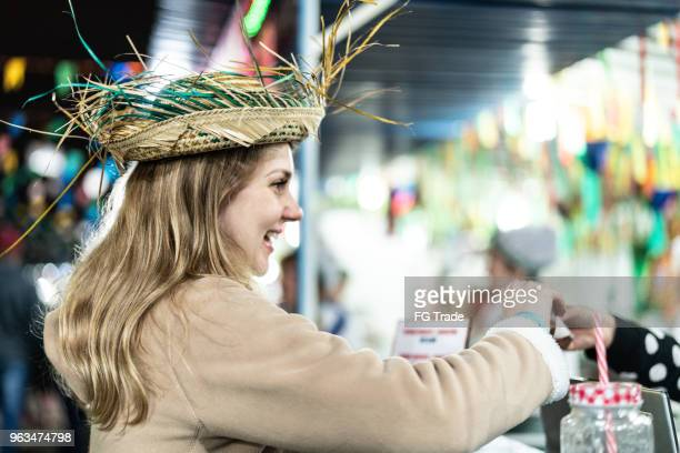 young woman enjoying a great time in the famous brazilian junina party - goiania imagens e fotografias de stock