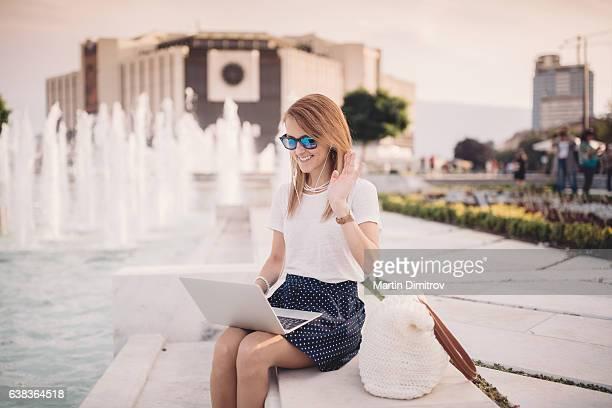 Young woman enjoying a video call