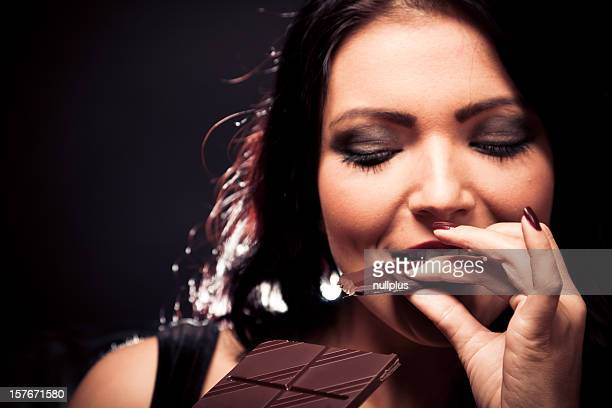 young woman enjoying chocolate