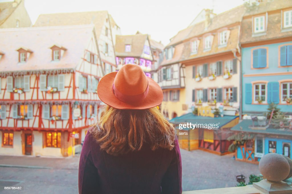 Young woman enjoying Christmas in Colmar, France : Stock Photo