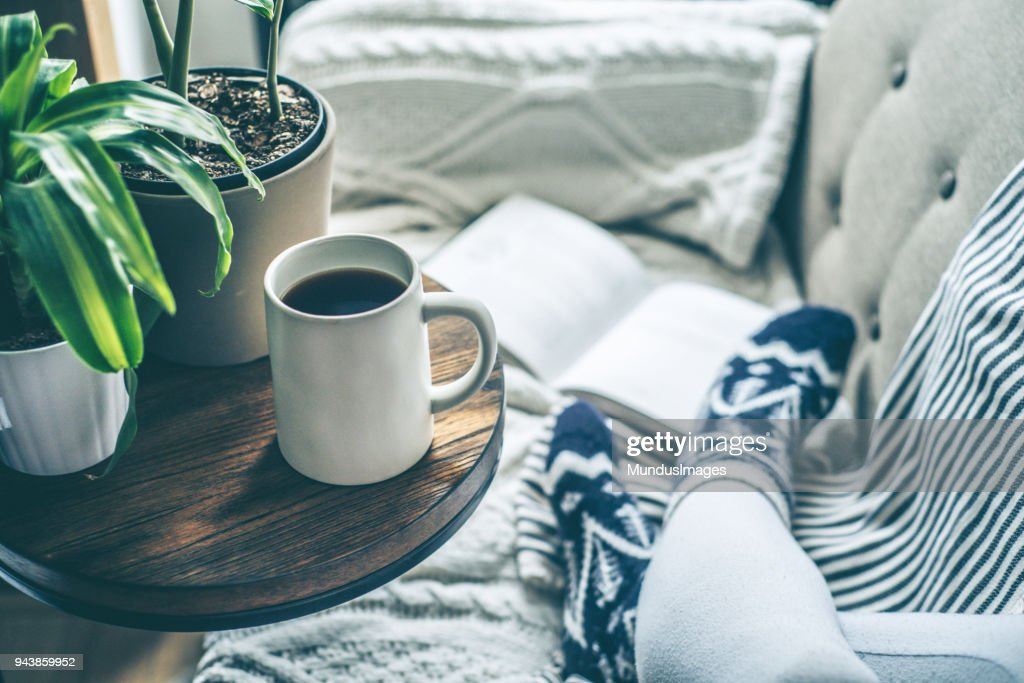 Young woman enjoying coffee and relaxing on a sofa with a book : Stock Photo
