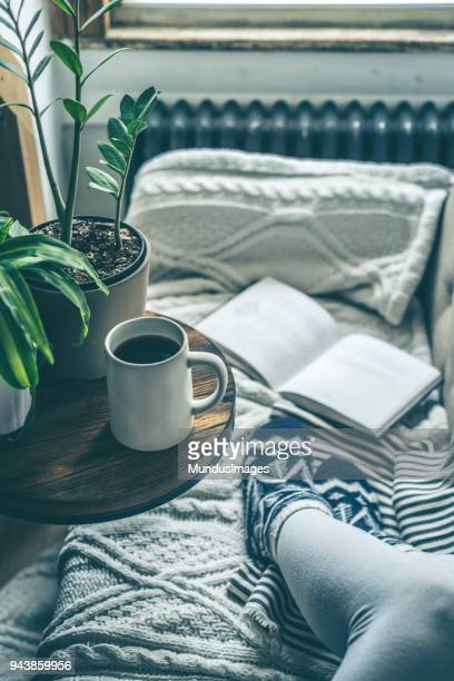 Young woman enjoying coffee and relaxing on a sofa with a book