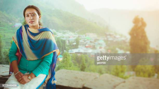 young woman enjoying fresh air and looking at camera. - salwar kameez stock pictures, royalty-free photos & images