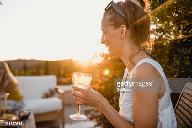 young woman enjoying her holiday - prosecco stock pictures, royalty-free photos & images
