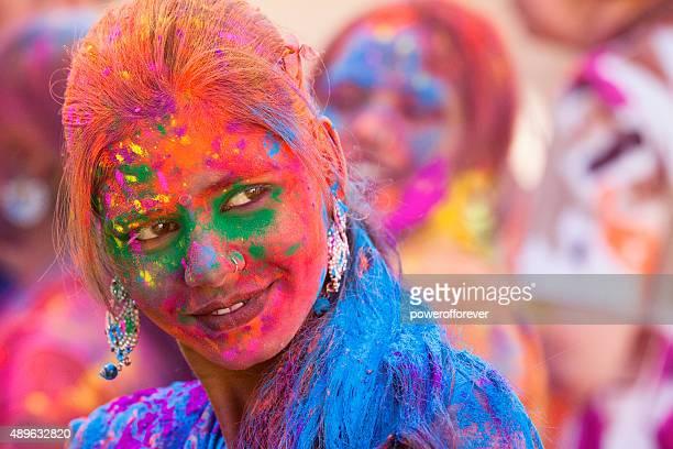 Young Woman Enjoying Holi Festival