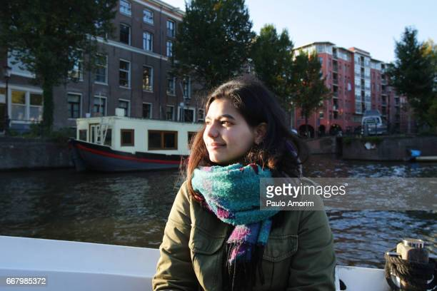 A young woman enjoying in Amsterdam