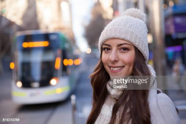Young Woman Enjoying Melbourne Winter