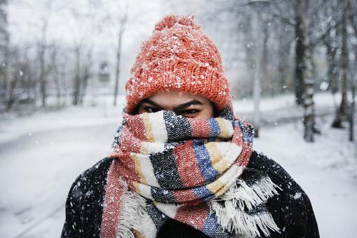 A young woman enjoying snowfall in Amsterdam - gettyimageskorea